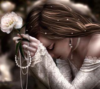 Обои на телефон готические, цветы, розы, картина, девушки, грустные, rosary, praying