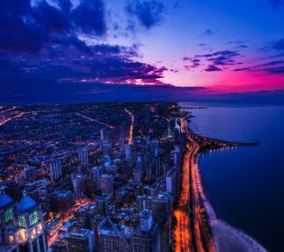 Обои на телефон чикаго, фиолетовые, ночь, небо, закат, город, chicago night