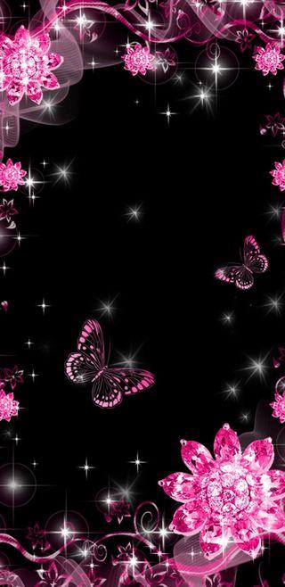 Обои на телефон симпатичные, сверкающие, розовые, блестящие, бабочки
