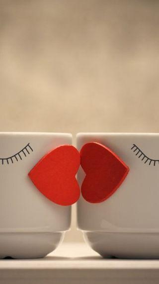 Обои на телефон чашка, сердце, поцелуй, милые, cup