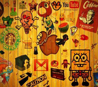 Обои на телефон ютуб, эпл, фейсбук, деревянные, дерево, губка, woody, mail, gmail, bobs, apple