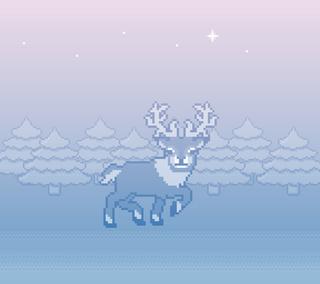 Обои на телефон олень, рождество, каникулы, зима, 8-bit reindeer