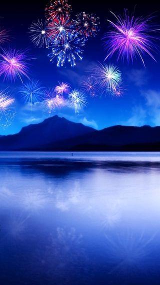 Обои на телефон фейерверк, синие, ночь, небо, fireworks hd