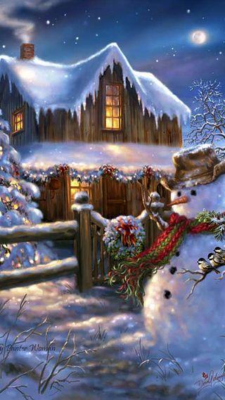 Обои на телефон старые, снеговик, снег, симпатичные, рождество, зима, домик, дерево, wreathe, old fashioned, christmas cabin, 929