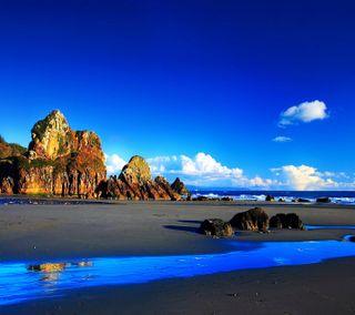 Обои на телефон пляж, синие, природа, небо