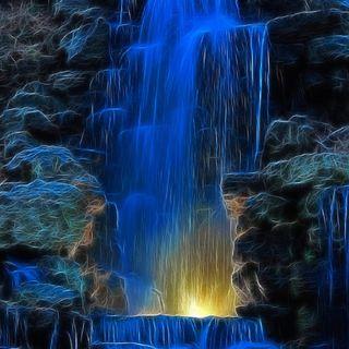 Обои на телефон водопад, рок, камни, вода, 3д, 3d
