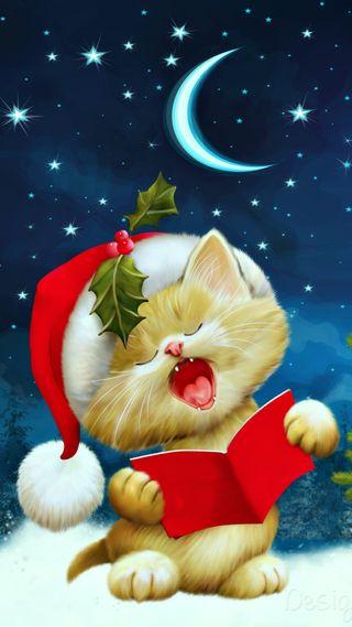 Обои на телефон кошки, рождество, луна