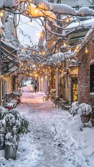 Обои на телефон холод, улица, снежные, снег, рождество, огни, зима, дома, деревня, день, snowy day