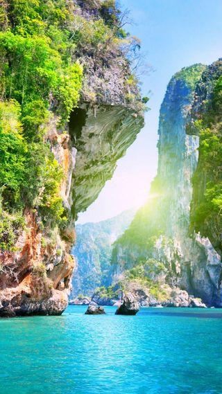 Обои на телефон природа, пейзаж, пляж, река, остров