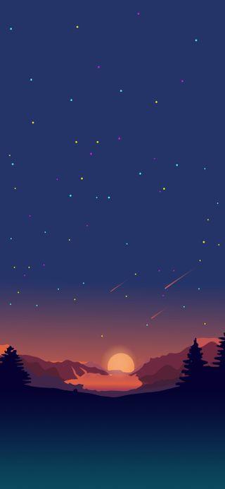 Обои на телефон солнце, природа, прекрасные, мультфильмы, звезды, закат, деревья, горы, айфон xs, ios