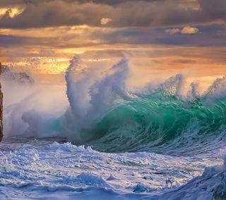 Обои на телефон шторм, пляж, океан, море, волны