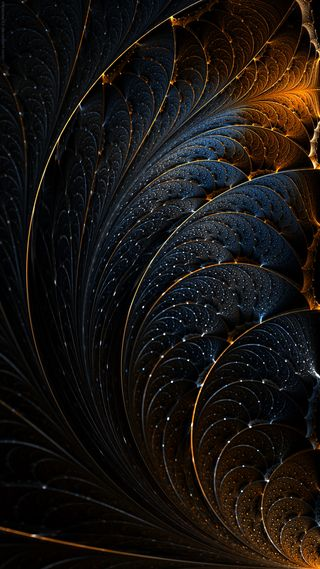 Обои на телефон structure, черные, синие, темные, золотые, сияние, фрактал