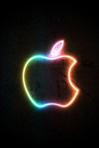 Обои на телефон эпл, неоновые, абстрактные, apple