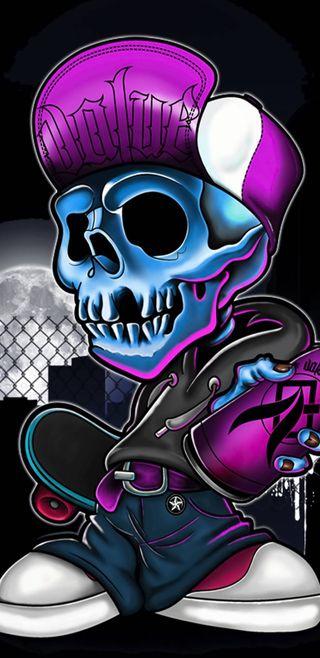 Обои на телефон голова, череп, неоновые, мультфильмы, кости, neon skull head