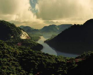 Обои на телефон холм, река, природа, поле, пейзаж, облака, красота, calming