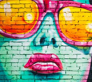 Обои на телефон граффити, цветные, стена, лицо, арт, graffiti wall, art