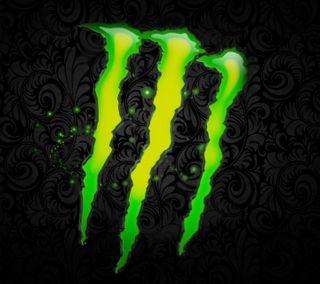 Обои на телефон черные, зеленые, monster