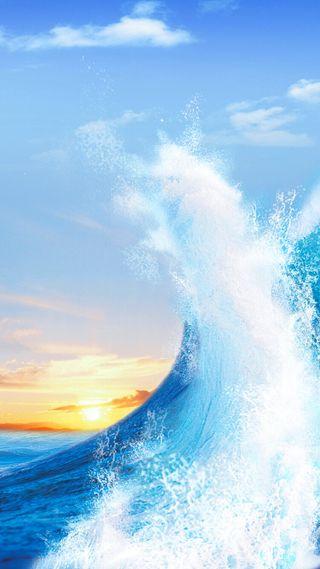 Обои на телефон восход, природа, океан, небо, волны