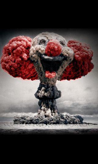 Обои на телефон клоун, черные, серые, облака, лицо, красые, бомба, clowny bomb