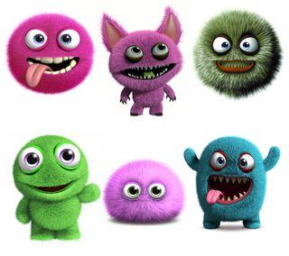 Обои на телефон пастельные, цветные, фон, пушистые, монстры, милые, забавные, pastel colors, cute fluffy, 3 d