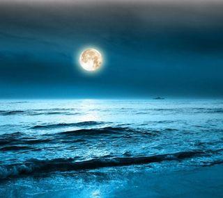 Обои на телефон природа, океан, луна, over, moon over the ocean