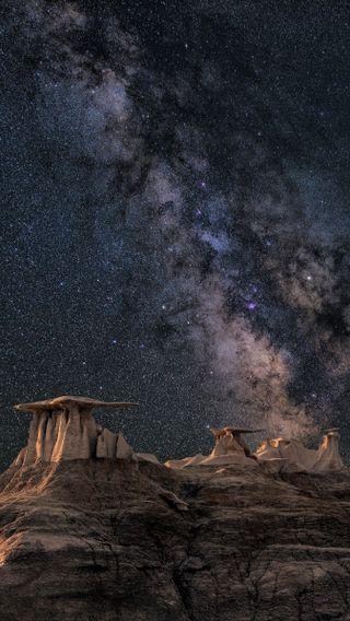 Обои на телефон великий, пейзаж, освещение, ночь, звезды, горы, вид, stars at night