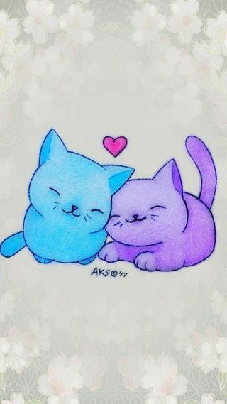 Обои на телефон art, kitties, love, любовь, аниме, милые, арт, сердце, девушки, цветные, мультфильмы, пара, животные, рисунки, друзья, мальчик, коты, котята, питомцы, дружба, обнимать, кошачий