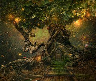 Обои на телефон фонарь, фантазия, лес, дом, дерево, арт, treescapes, tree house, fairies, art