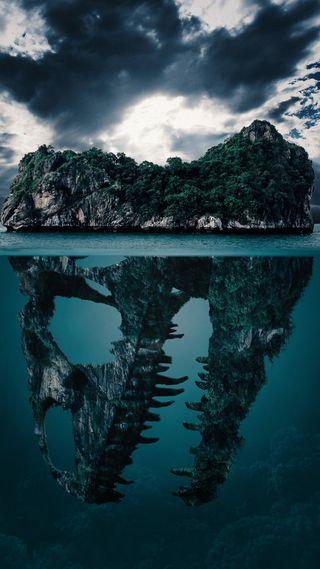Обои на телефон остров, синие, природа, облака, красота, вода