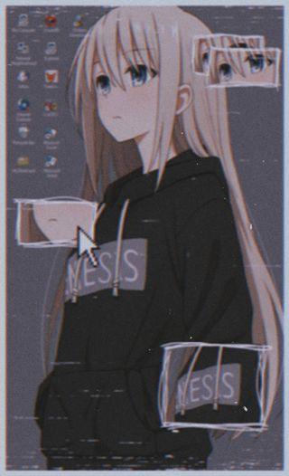 Обои на телефон худи, монтаж, компьютер, девушки, винтаж, аниме