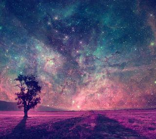 Обои на телефон дерево, природа, пейзаж, галактика, абстрактные, galaxy