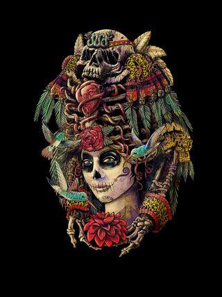 Обои на телефон ведьма, черные, череп, фон, темные, мертвый, древний, день, девушки, day of the dead, ancient girl