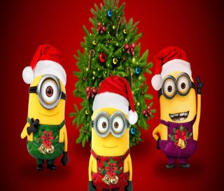 Обои на телефон праздник, рождество, миньоны