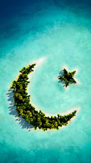 Обои на телефон остров, синие, луна, зеленые, звезда