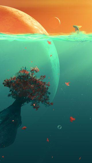 Обои на телефон небеса, фантазия, удивительные, солнечный свет, прекрасные, космос, дерево, вода
