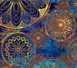 Обои на телефон круги, шаблон, синие, золотые, арт, art