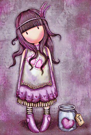Обои на телефон перья, фиолетовые, сердце, милые, любовь, девушки, santoro, love, jar, hippie, gorjuss