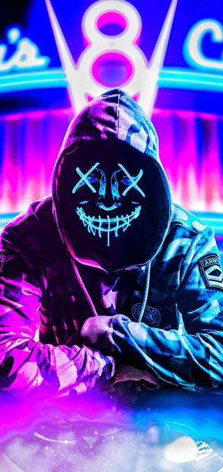 Обои на телефон фиолетовые, неоновые, маска, аниме, the purge, neon mask, hd, chaqueta, 4k