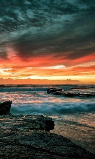 Обои на телефон берег, рокки, природа, пейзаж, океан, камни, волны, rocky shore