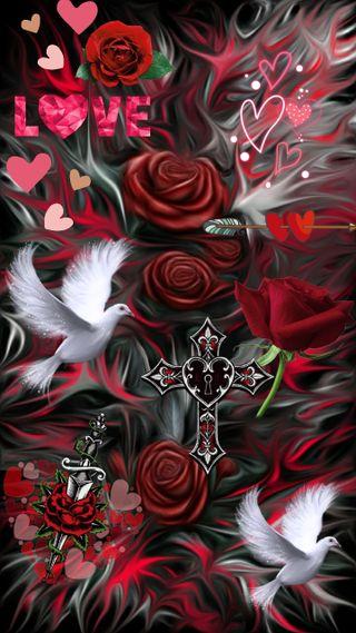 Обои на телефон птицы, черные, сердце, розы, полет, любовь, крест, красые, love, doves in flight, doves