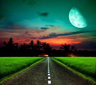Обои на телефон вечер, поле, ночь, закат, дорога, road night, moonlit road, moonlit field evening