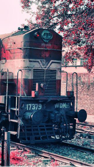 Обои на телефон поезда, транспорт, розовые, индия, арт, train india, art