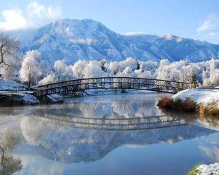 Обои на телефон мост, снег, лед, зима, живописные