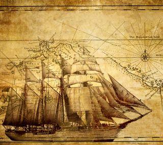 Обои на телефон карта, старые, розы, парусные, корабли, компас, древний, винтаж, античный