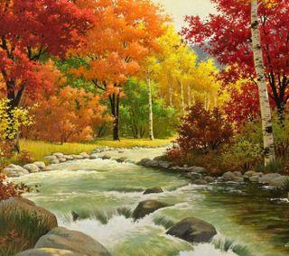 Обои на телефон река, цветные, рисунки, осень