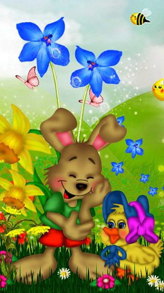 Обои на телефон кролики, цветы, утка, луг, игрушки, другие, аниме, абстрактные