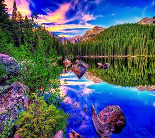 Обои на телефон синие, озеро, взгляд, hd blue lake, good