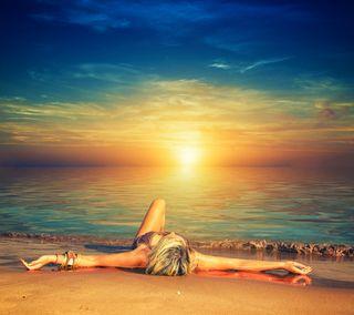 Обои на телефон мечты, фон, синие, природа, пляж, небо, закат, девушки, вода, water female blue sky, sunset dreams, sunset beach