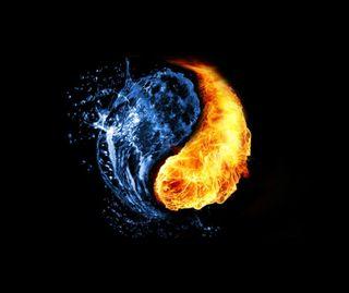 Обои на телефон янь, огонь, черные, синие, оранжевые, инь, вода, абстрактные, fire and water