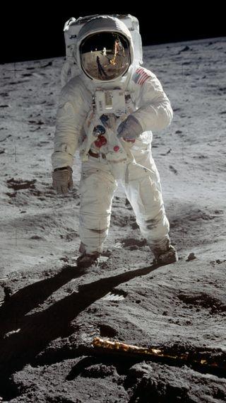 Обои на телефон наса, маленький, космонавт, луна, космос, one small step, neil armstrong, nasa, apollo 11